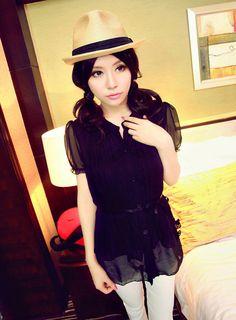 [qz055] เสื้อผ้าแฟชั่น Pre Order เสื้อเกาหลีผ้าชีฟอง แขนตุ๊กตา | SoMoreMore.Com