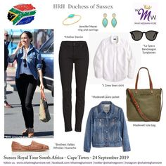 Royal Tour South Africa Day 2 - The Duchess keeps it cool and casual today with repeat wear items! Royal Tour South Africa Day 2 - The Duchess keeps it cool and casual today with repeat wear items! Estilo Meghan Markle, Meghan Markle Style, Princess Meghan, Prince Harry And Meghan, Africa Day, South Africa, Meghan Markle Outfits, Madewell Tote, Le Specs Sunglasses