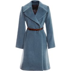 Marc Jacobs Baby Llama Belted Wrap Coat ($760) ❤ liked on Polyvore featuring outerwear, coats, casacos, blue, leather wrap belt, blue leather belt, marc jacobs coat, belted coats and blue coat
