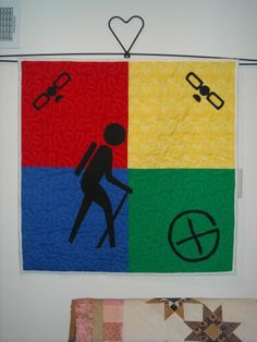 """GEOCACHING QUILT- WALLHANGING- 34 1/2"""" SQUARE-POCKET ON BACK FOR TRACKABLE- NEW!"""