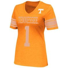 Tennessee Volunteers Womens Rebel V-Neck Burnout Slim Fit T-Shirt - Tennessee Orange