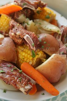 Low Country Neck Bone Boil made in the slow cooker. Perfect for those who can't eat traditional seafood boil neck bones recipe soul food gravy Low Country Neck Bone Boil Seafood Boil Recipes, Pork Recipes, Slow Cooker Recipes, Crockpot Recipes, Cooking Recipes, Oxtail Recipes, Cajun Cooking, Crockpot Dishes, Recipes