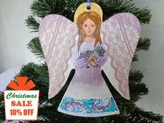 Angel Pendant  Wooden decoration for the Christmas tree Personalized gift Handmade gift for Christmas for house Primitive decoration
