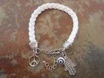 Suede Boho Bracelet Hamsa Charms Evil Eye Peace White Leather Shipping Included