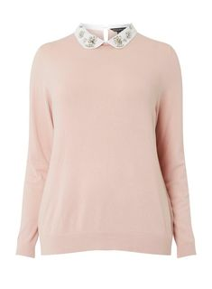 Womens **DP Curve Blush Gem 2-In-1 Collar Jumper- Pink Feminine Fall Outfits, 2 In, Ted Baker, Collars, Makeup Looks, Jumper, Style Me, Dress Up, Blush