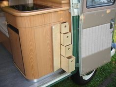 Project #11 | interiormotiveuk.com Bus Interior, Campervan Interior, Plywood Interior, Campervan Ideas, Camper Van Kitchen, Combi T2, Caravan Living, Motorhome, Vw Lt