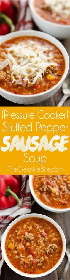 Pressure Cooker Stuffed Pepper Sausage Soup is a hearty recipe made in your Instant Pot, perfect for an easy family friendly dinner. Mild Italian sausage, rice, vegetables and a light tomato and beef broth come together for a rich and delicious meal everyone will love! #InstantPot #Soup #Recipe