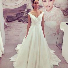 A-Line Off-the-Shoulder Cap Sleeves Court Train Chiffon Wedding Dress