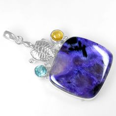12.47 Gm 925 Sterling silver Natural Charoite Blue Topaz Citrine Pendant Jewelry #Unbranded
