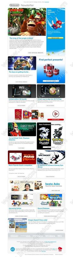 """Be Inspired by our Email Newsletter Email Design Gallery: Brand -Nintendo Ltd. Subject Line:""""Hello Nintendo fan!"""""""