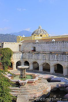 A fountain in a square in Antigua, Guatemala