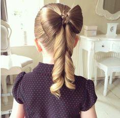 coiffure petite fille noeud très élegante, superbe idée très élégante pour votre fille