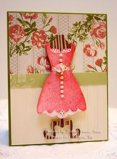All Dressed Up--love how she used the woodgrain embossing folder on the dress form.