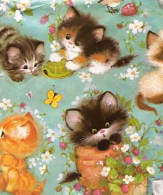 Kitschy Living and like OMG! get some yourself some pawtastic adorable cat apparel! Vintage Cat, Vintage Images, Vintage Gifts, Retro Vintage, Vintage Wrapping Paper, Vintage Paper, Wrapping Papers, Illustrations, Illustration Art