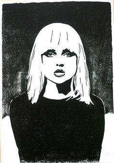 Blondie - linocut / lino print