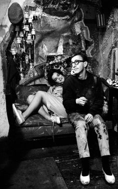 Romy Schneider and Woody Allen on the set of What's New Pussycat?, 1965, directed by Clive Donner.