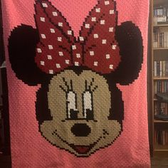 Minnie Mouse Blanket, Row By Row, Bobble Stitch, C2c, Crochet Crafts, Digital Pattern, Cross Stitching, Baby Gifts, Blankets