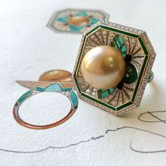 Tahitian pearl, diamonds and plique-a-jour enamel ring, by Ilgiz F.