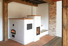 stove with bread oven Dream Home Design, House Design, Stair Shelves, Bread Oven, Japanese Interior Design, Rocket Stoves, Cottage, Ovens, Tiny House