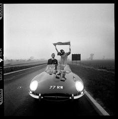 A Jaguar E-Type convertible in British racing green, with the number plate RW 'circa 1965 Photo Brian Duffy Swinging London, David Bailey, Jaguar Type E, Jaguar Cars, Brian Duffy, Gilles Villeneuve, Victoria And Albert Museum, Belle Photo, Luxury Cars
