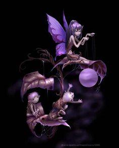 Purple Fairy Moon Games by Anna Ignatieva Magical Creatures, Fantasy Creatures, Fantasy Kunst, Fantasy Art, Fairy Dust, Fairy Tales, Kobold, Fairy Pictures, Gothic Fairy