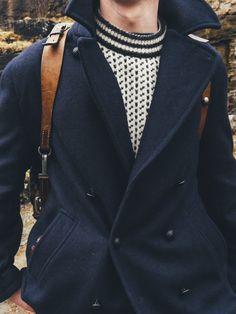 Saint James Navy Pea Coat - Scandinavian Man's Capsule Wardrobe   Scandinavia Standard