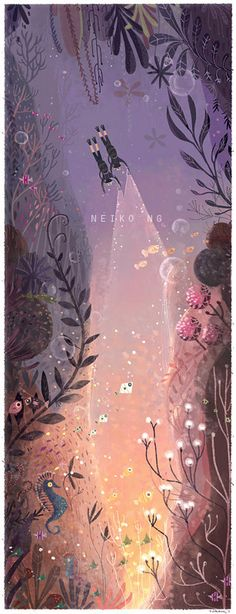 Diving with best friends Large Print illustration by PaperPlants, $34.00