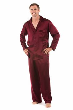 Mens Red 100% Silk Pajamas