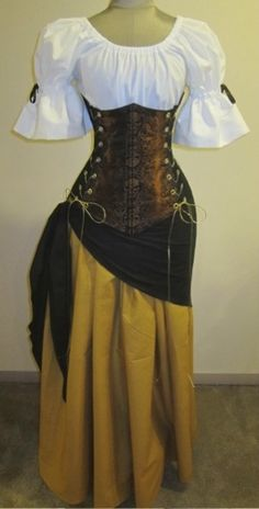 Buccaneer Wench Under-bust Corset Set - renaissance clothing, medieval, costume Renaissance Fair Costume, Renaissance Costume, Medieval Costume, Renaissance Clothing, Medieval Dress, Renaissance Gypsy, Costume Viking, Pirate Wench Costume, Pirate Dress