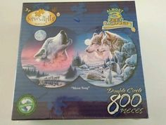 "Jigsaw Puzzle Double Circle Shaped 800 pcs ""MOON SONG"" NEW Wolf Wolves #Serendipity #JigsawPuzzle"