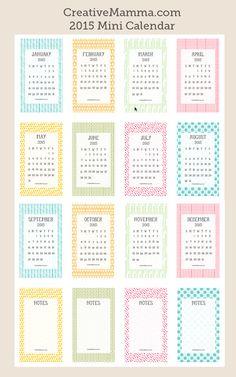 2015 mini calendar
