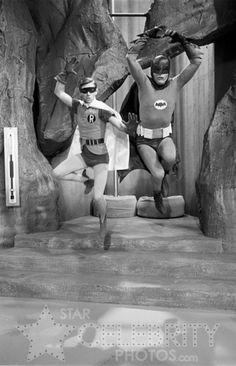 Quick Robin.  To the Batmobile!  (Burt Ward and Adam West).