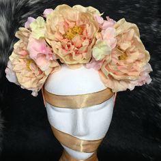 Artificial Boho Peach Crown / Floral Wreath / Racewear / Flower Girl / Hair Flowers / Bridesmaid / Fake Silk Flower / Fascinator / Hydrangea by FauxFloralCo on Etsy https://www.etsy.com/au/listing/457292472/artificial-boho-peach-crown-floral