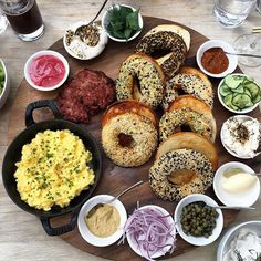 Momofuku Daishō - Bagel Feast Platter: Toasted Bagels | Breakfast Sausage Smoked Fish Mousse | Scrambled Eggs | Green Salad | Selection of Spreads