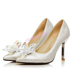Womens Pointy Toe Crystal Beads Slip On High Heels Silver Pumps Shoes  Bridal Wedding Heels e7c45679139b