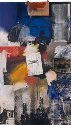 Untitled, by Robert Rauschenberg, 1963. Oil, silkscreened ink, metal, and plastic on canvas. Guggenheim Museum.