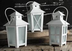 """Tiny Lanterns 6"""" White Metal   Battery Operated Candle & Timer 12 for $35.88 ($2.99ea)"""