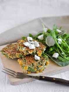 Corn, zucchini & saltbush fritters by Waffle Sandwich, Corn Fritters, Appetisers, No Cook Meals, Salmon Burgers, Finger Foods, Entrees, Zucchini, Healthy Recipes