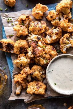 spicy cauliflower cheese bites with tahini ranch. Meet the healthier, better tasting, Super Bowl appetizer, Spicy Cauliflower Cheese Bites w. Cauliflower Cheese, Cauliflower Bites, Cauliflower Recipes, Roasted Cauliflower, Pizza Side Dishes, Pizza Sides, Veggie Dishes, Vegetarian Recipes, Cooking Recipes