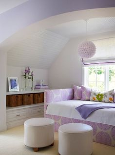 This bedroom shows how lavender and purples can work in a modern space too. #hotlooks