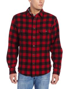 Woolrich Men's Wool Original Buffalo Check Shirt, RED/BLACK (Red), Size XS