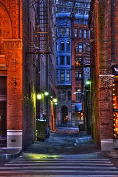 Dusk, Seattle, Washington  photo via deb: Pioneer Building at First and Yesler visible through alley. Heart of old Seattle's Pioneer Square.
