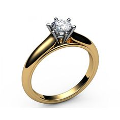 Classic 6-prongs Solitaire Diamond Engagement Ring in 18K Yellow gold (0.60 ct.) - Solitaire Diamond Rings