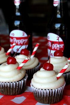 Dr Pepper Backyard Bash RecipesLife With The Crust Cut Off Cupcake Recipes, Cupcake Cakes, Dessert Recipes, Cupcake Ideas, Just Desserts, Delicious Desserts, Yummy Food, Dr Pepper Cupcakes, Dr Pepper Cake