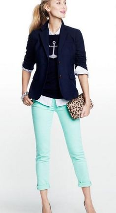 Mint Pants + Navy blazer