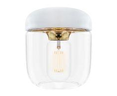 Pantalla de lámpara de techo Acorn - blanco y dorado