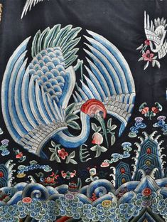 Exceptional-Antique-Chinese-Crane-robe-embroidered-silk-1850