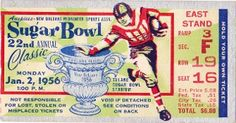 Football gifts! The best football gifts made from football tickets. http://www.shop.47straightposters.com/1956-Georgia-Tech-vs-Pitt-Sugar-Bowl-Classic-Ticket-Poster-56SGRBWL.htm