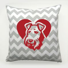 Decorative Pillow Airedale Terrier Dog Heart by PSIAKREW on Etsy