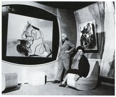 Art of This Century Gallery, 30 W. 57th Street, New York City, 1942 — designed by Frederick Kiesler and with Max Ernst and Peggy Guggenheim.